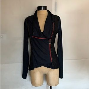 Laila Jayde Black/Red Drape Cardigan Jacket Sz. S